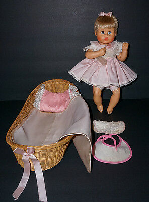 """CLEARANCE SALE Vintage American Character 12"""" Teeny Tiny Tears Doll in Basket"""