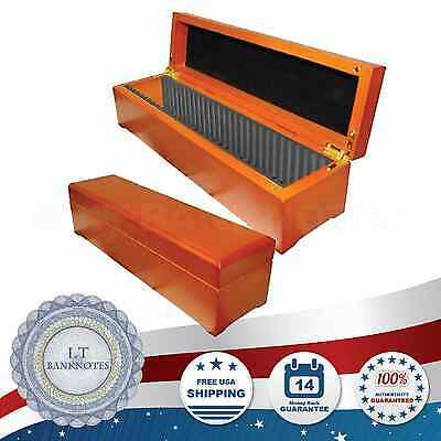 Large Oak Wood Storage Display Coin Box 30 Certified Graded Slabs PCGS NGC ANACS