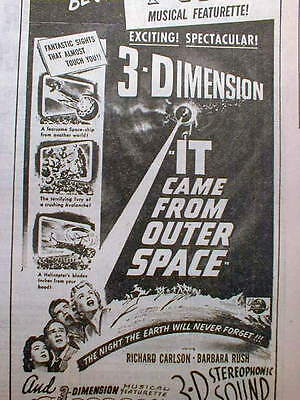 1953 newspaper w large ad Original 1953 movie IT CAME FROM OUTER SPACE in 3-D