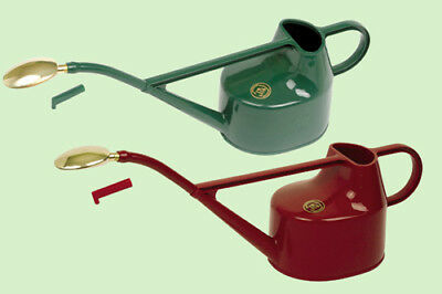 Haws Red/Green Deluxe 5 L Litre Watering Can Brass Rose