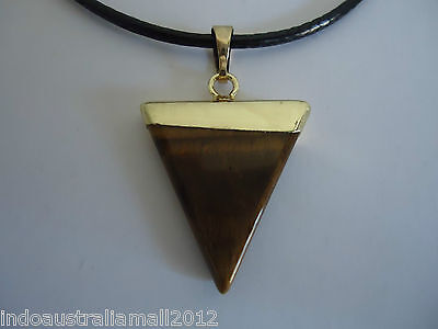TIGER EYE Healing Chakra Gemstone Stone Golden Triangle  Pendant Necklace