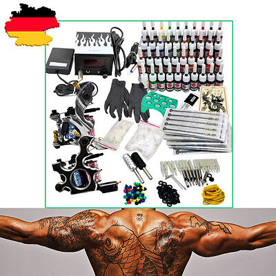 NEU Tattoomaschine Komplett Set Netzgerät 40 Tinte+2 Tattoo Gun Tattoo Machine