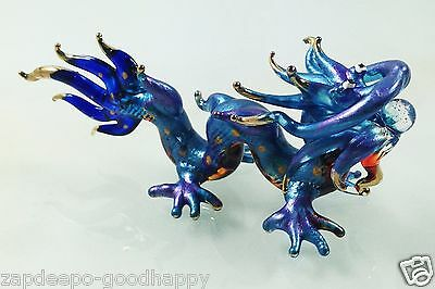 Powerful Blue Colorful Dragon Figurine Painted Hand Blown Glass Animals Gold Rim