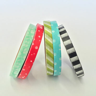 Washi Tape Thin Skinny 5 Roll Set No 1 Each Roll 5Mm X 10Mtrs Craft Plan Scrap