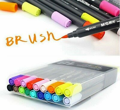 Art Graphic Drawing Twin Tip Brush Sketch Marker Pen Water Color 12/18/24 Colors