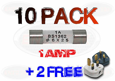10 + 2 FREE x 1A 1 AMP DOMESTIC HOUSEHOLD FUSE MAINS PLUG CARTRIDGE FUSE