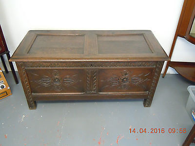 Antique Oak Coffer or Chest. Victorian or Earlier. Staple Hinges. Pegged Joints.