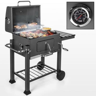 Barbecue Grill Holzkohlegrill BBQ Grillwagen Smoker Standgrill m. Thermometer