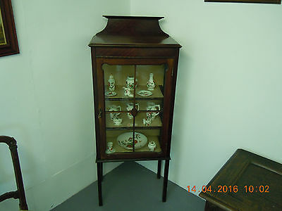 Antique Glazed Display Cabinet. Two Shelves with Key.