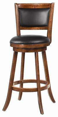 Solid Wood Dark Chestnut Swivel Bar Stool Chair by Coaster 101920 - Set of 2