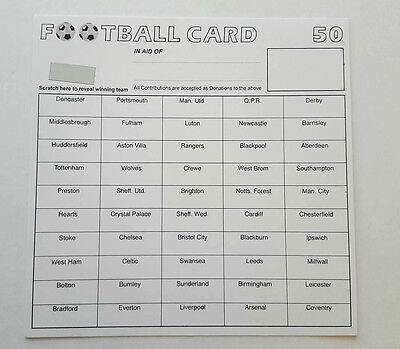 100 x 50 TEAM FOOTBALL FUNDRAISING SCRATCH CARDS GREAT QUALITY