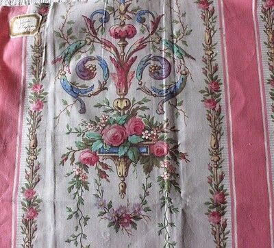 Dated 1872 French Pink Rococo Roses & Scroll Handblocked Fabric Textile~Home