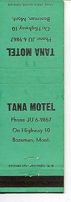 Matchbook Tana Motel Bozeman Montana Old Phone # Vintage Collectable