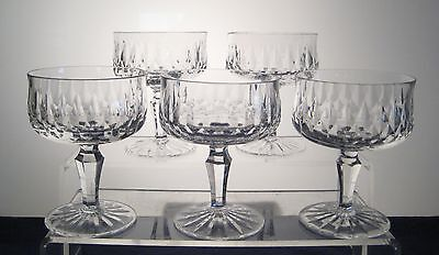 """UNKNOWN Attributed to SEARS Champagne/Sherbets 4 5/8"""" SET of FIVE, Hex Stem"""