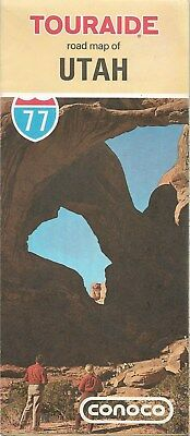 1977 CONOCO Gas Station Locator Road Map UTAH Arches Zion Bryce National Parks