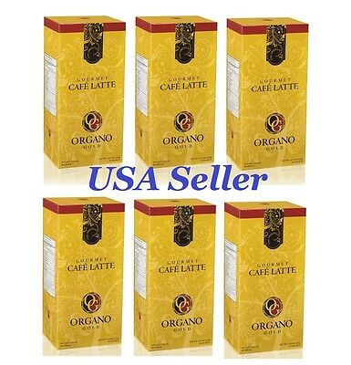 6 Boxes ORGANO GOLD GOURMET CAFE LATTE-SHIPS EXPEDITE! DELIVERED IN 1-3 DAYS!