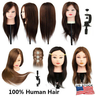 "22""/24"" Hairdressing Long 100% Human Hair Head Training Mannequin Makeup+Holder"