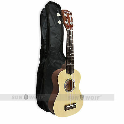 SUNWORF Soprano Ukulele Uke With Free Case For Guitars Basses Beginner Ukelele