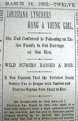 1892 newspaper - Young NEGRO GIRL LYNCHED in Rayville LOUISIANA Richland Parrish