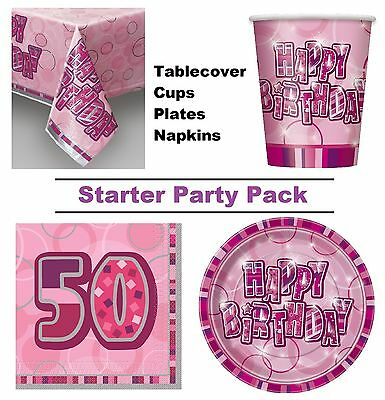 Pink Glitz 50th Happy Birthday 8-48 Guest Starter Party Pack Cups Plates Napkins