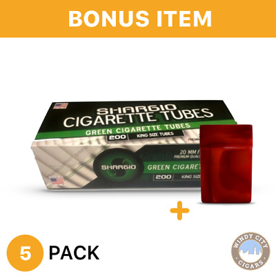 Shargio Green King Size Tubes 200Ct.-5 Pack+1 FREE CIGARETTE CASE