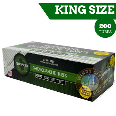 Shargio Green King Size Cigarette Tubes (200 per box)+FREE cig Case