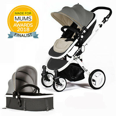 Allis Baby Pram Pushchair Buggy Stroller Carry Cot Footmuff Rain Cover Grey 2in1