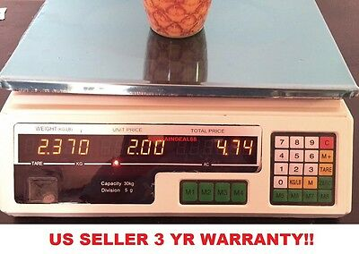 T78 60LB Digital Weight Scale Price Computing Food Meat Produce Deli Market