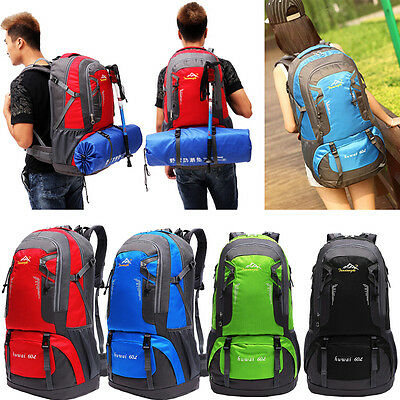 60L Waterproof Oxford Hiking Camping Backpacks Outdoor Sports Bag Knapsack Pouch