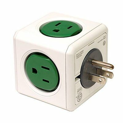 New PowerCube Original 5 Outlet Power Adapter Power Outlet  - Kelly Green