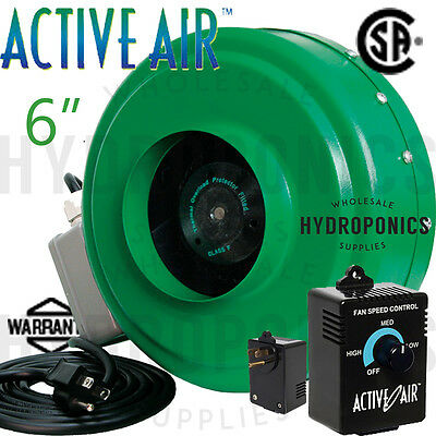 """Active Air 6"""" inch Inline Duct Blower Fan  & Duct Speed Controller - HydroFarm"""