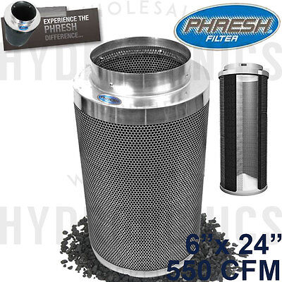 """Phresh Filter 6"""" x 24"""" 550 CFM Carbon Filter - Authorized Seller! Free Shipping!"""