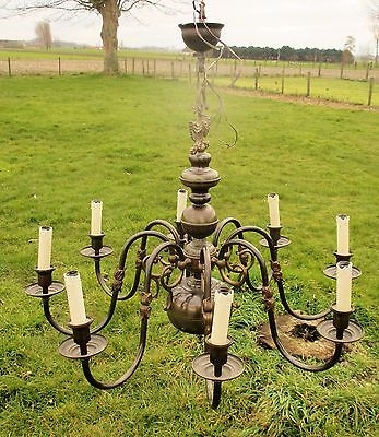 Vintage Ornate Flemish Dutch 8 Arms Chandelier Lights Brass Eagle Fish