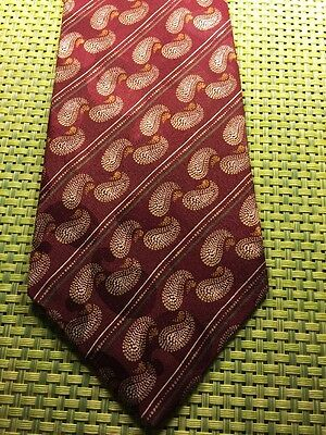 Perry Ellis Burgundy Gold Paisley Striped Classic Silk Mens Neck Tie