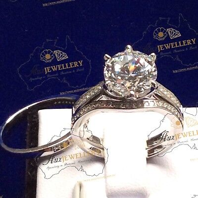 3pc Bridal Set: Created Diamond Real 925 Sterling Silver Engagement Wedding Ring
