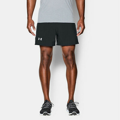 "Under Armour Launch 5"" Woven Hombre Negro Running Gimnasio Shorts Pantalones"