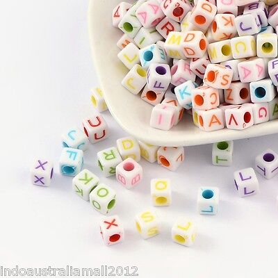 50 x  Acrylic Beads Cube with Letter Mixed Alphabet & Color (SACR-531-M)