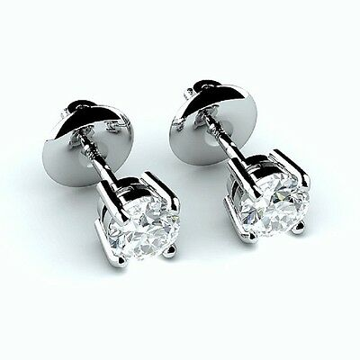 Special Offer..!! 0.50Ct Round Diamond Screw Back Stud Earring in 18k White Gold