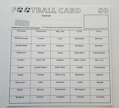 50 x 50 TEAM FOOTBALL FUNDRAISING SCRATCH CARDS GREAT QUALITY