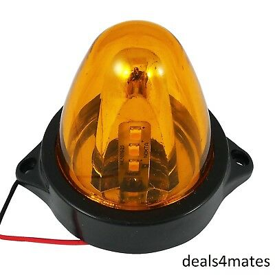 1 X 24V Led Orange Amber Side Marker Rotating Spinning Lights Mini Beacon Truck