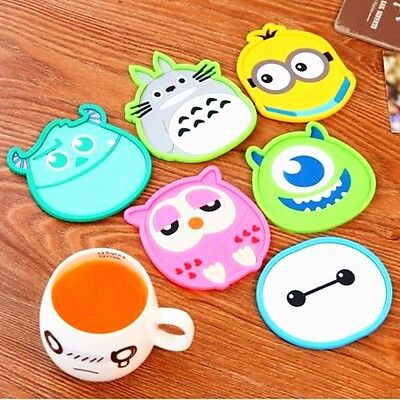 Silicone Cartoon Figure Coaster Cup Cushion Holder Drink Placemat Mat Kids Gift