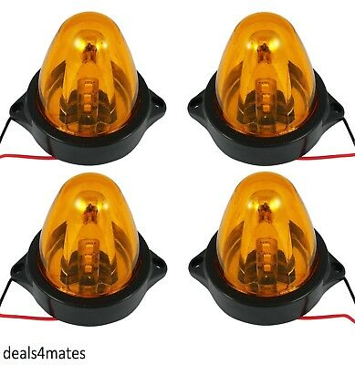 4 X 24V Led Orange Amber Side Marker Rotating Spinning Lights Mini Beacon Truck