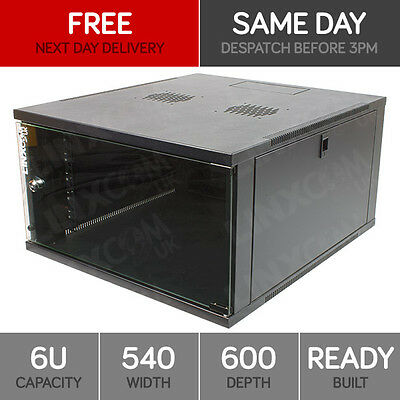 "6U 19"" Network Cabinet Rack Wall Mounted 540*600mm Black Data Comms Patch Panel"