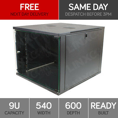 "9U 19"" Network Cabinet Rack Wall Mounted 540*600mm Black Data Comms Patch Panel"