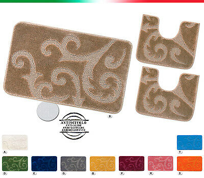 Tappeto bagno scendiletto TESSITURA 3D parure set 3 pezzi girowater mod.SCILLY
