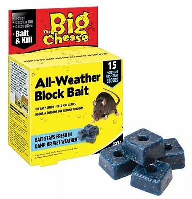2 x THE BIG CHEESE ALL WEATHER RAT MOUSE RODENT KILLER POISON BAIT 15 BLOCKS
