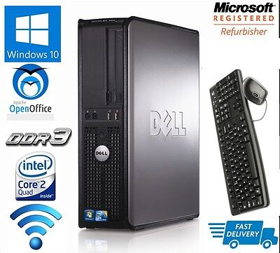 Dell Desktop Tower Pc Intel Quad Core Cpu 1Tb Hd 16Gb Ram Wi-Fi Windows 10