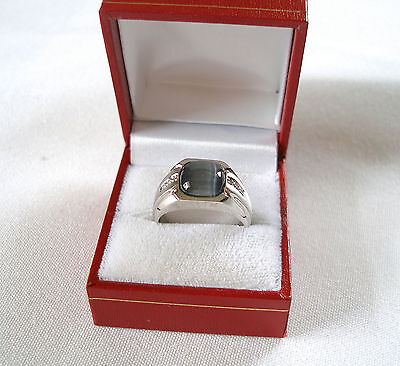 MENS- 4.25 Ct. Cat's Eye Solitaire & Diamond  10k White Gold Ring