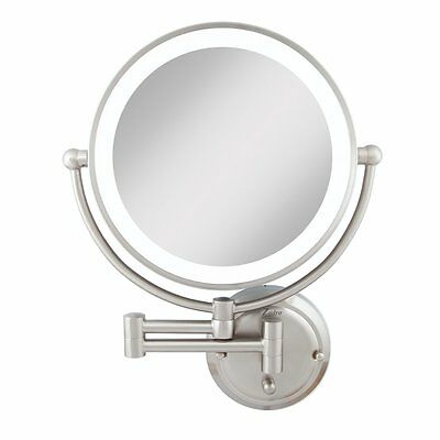 Zadro Light Dimmable Dual-Sided Glamour Wall Mount Mirror, Satin Nickel GLAW45