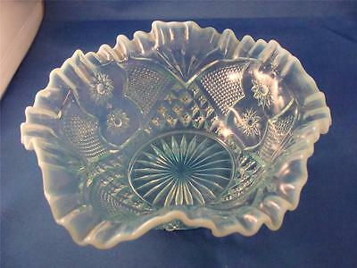 Gorgeous Blue Opalescent Pattern Glass Bowl 1850-1899